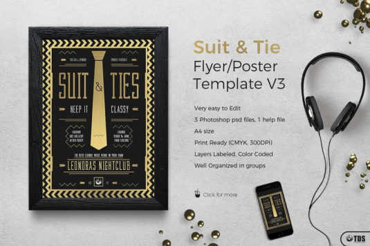Suit and Tie Flyer Template PSD V.3