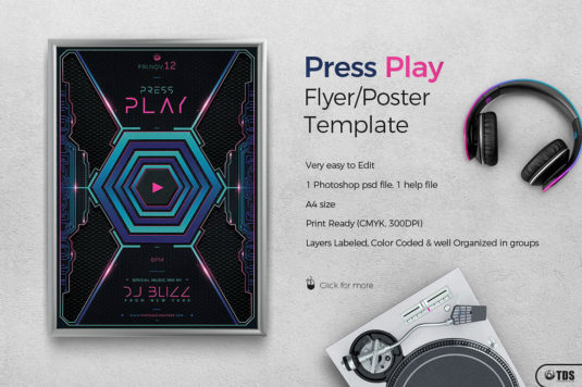 Press Play Club Flyer Template