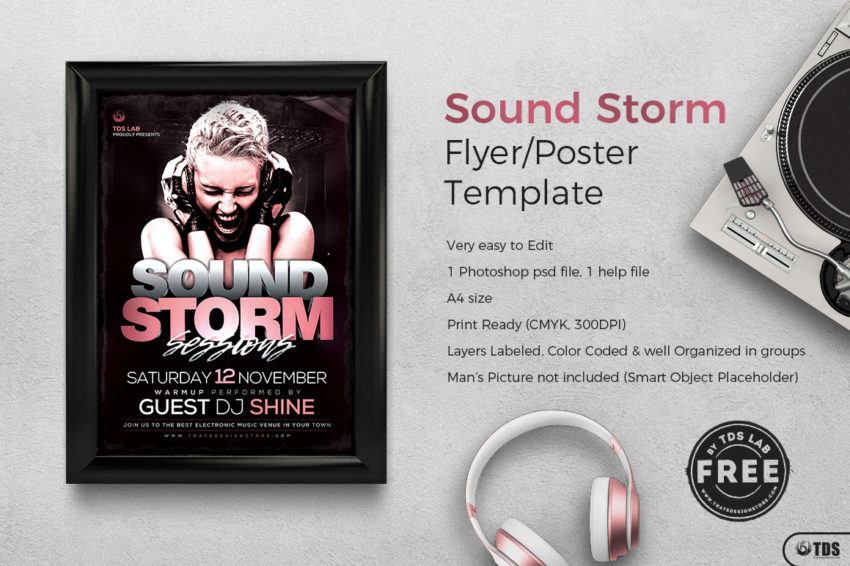 Free Sound Storm Flyer Template for photoshop