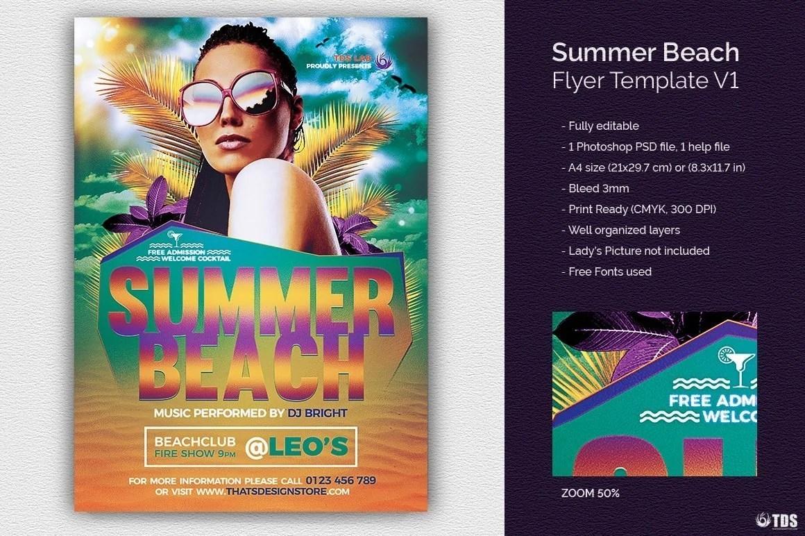 Summer Beach Flyer Template V1, Beach Party Psd Flyer Templates