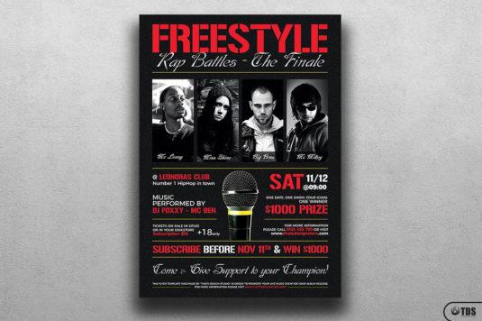 Freestyle Rap Battle Flyer Template psd V.8