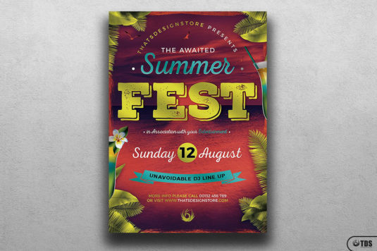 Summer Festival Flyer Template Psd for Photoshop