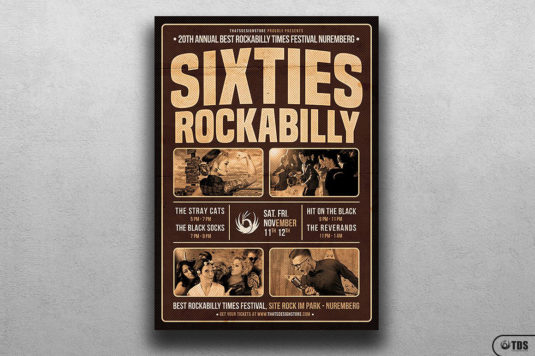 Sixties Rockabilly Flyer Template