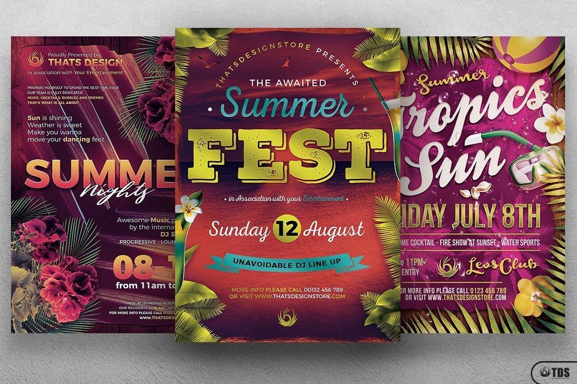 Summer Fun Flyer Template Psd Bundle