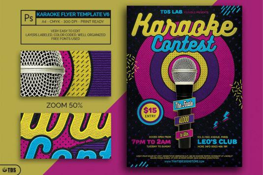 Karaoke Flyer Template psd V6