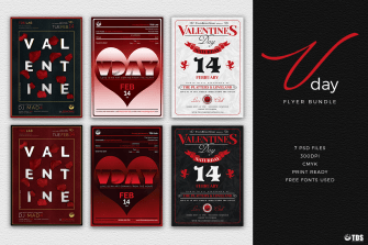 Valentines Day Flyer Psd Templates to download Bundle Psd download to customize with photoshop
