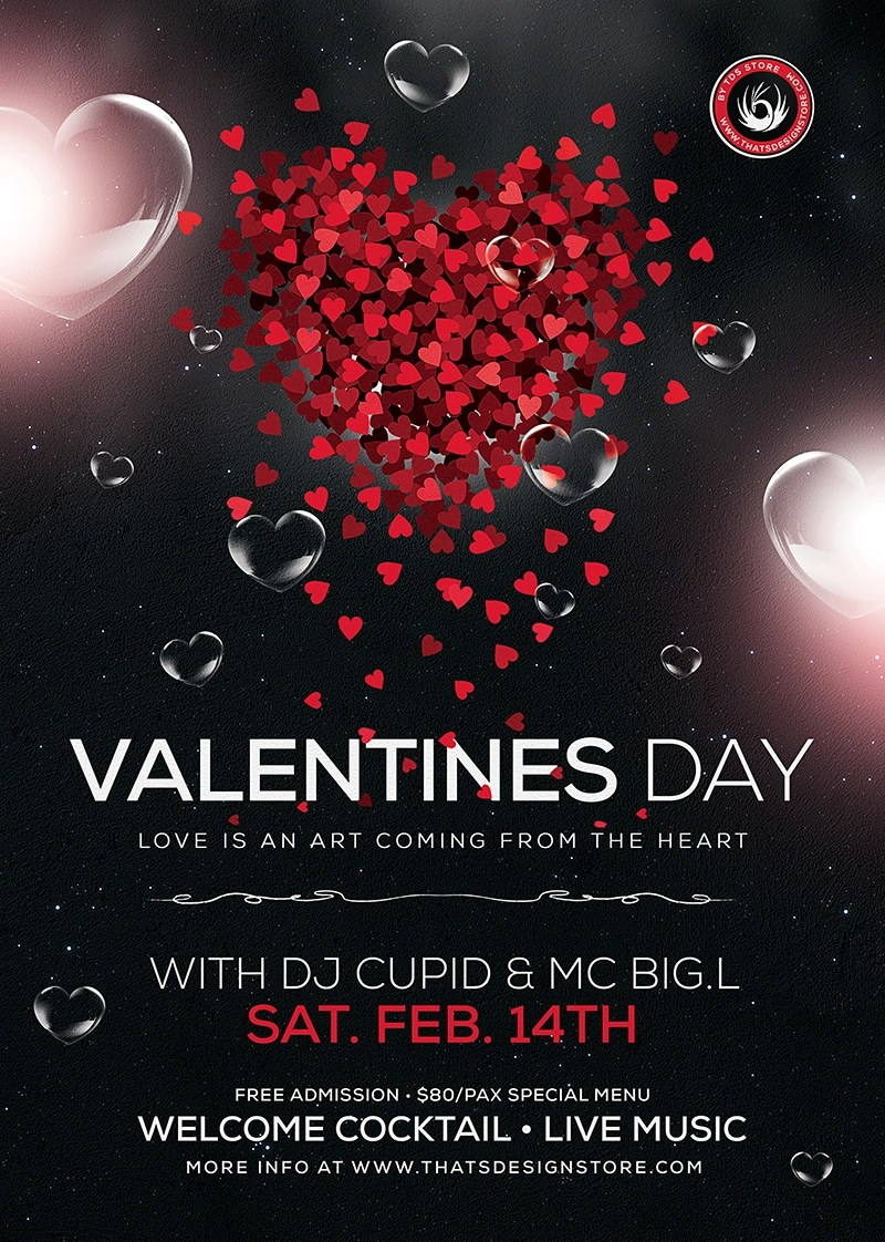 Valentine's Day Flyer Template Psd Download V14