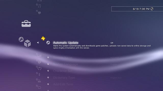Sony Update Screen