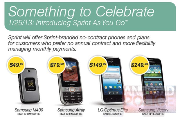 Sprint As You Go Phone Lineup
