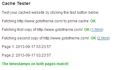 Caching test in WP Super Cache
