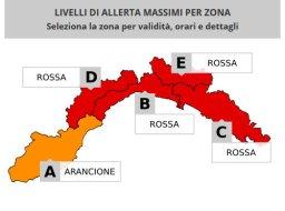 levels of weather alert in Liguria