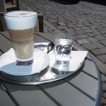 yummy latte at a street cafe, cesky krumlov