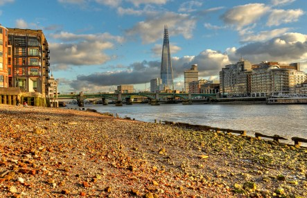 Thames River at the Shard, Low tide