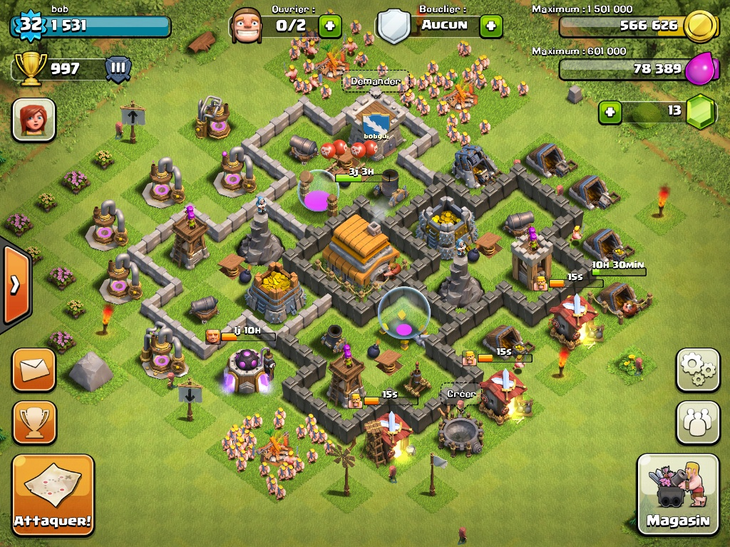 Clash of clans Town Hall 6 Trophy Base - 8
