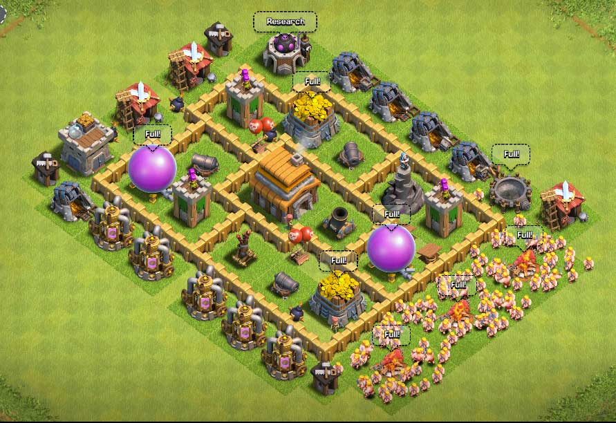 Clash Of Clans Town Hall Level 5 Defense | TH 5 War Base ...