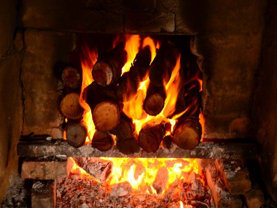 Flaming fire inside the kiln