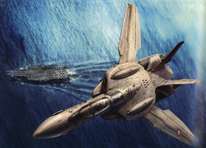 Macross Valkyrie with carrier in the background