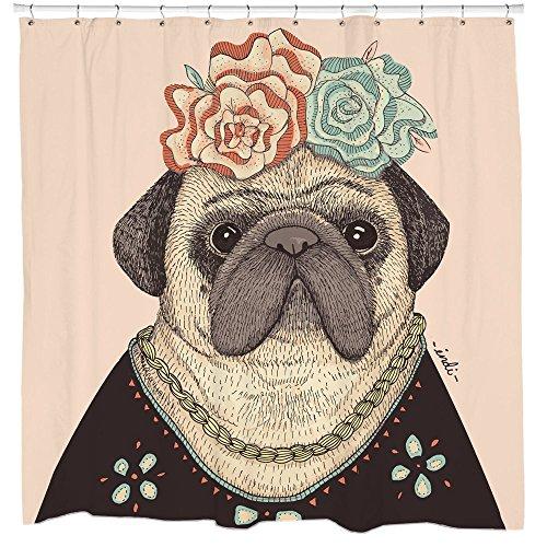 dog shower curtain pug shower decor