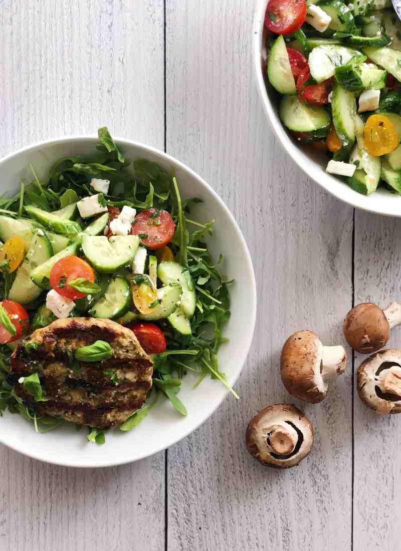 Mediterranean Chicken & Mushroom Burger Bowl.