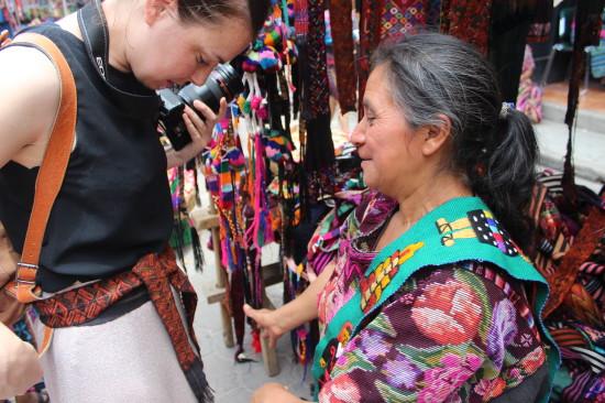 Local woman making my friend buy a pretty belt :)