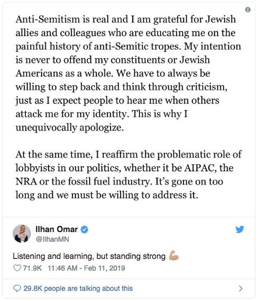 Ilhan Omar 2019-02-11 Tweet 2