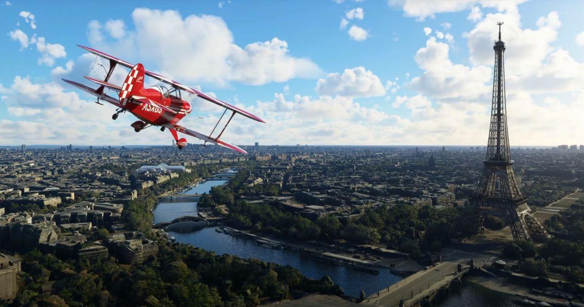 France and Benelux look fancy in new Microsoft Flight Simulator world update A plane flies past the Eiffel Tower 1