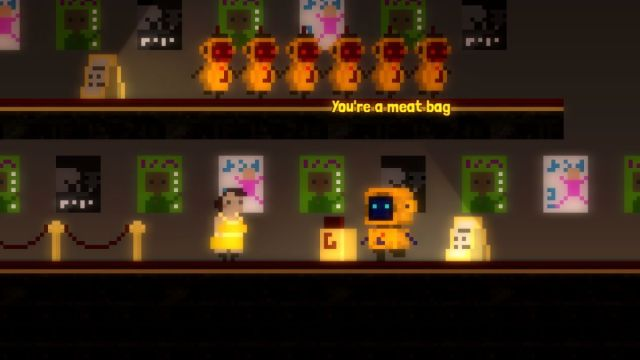 """Regional humor and singing robots, together at last in a point-and-click adventure A robot sings, """"You're a meat bag"""" 2"""