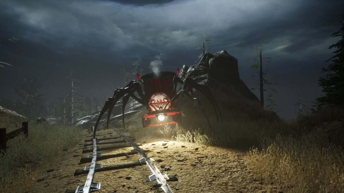 Here's a game about a gruesome spider-legged train named Charles A steam locomotive with a grinning, toothy face and the legs of a spider from video game Choo-Choo Charles. 1