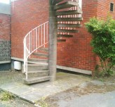 The spiral stairs, free of shrubs