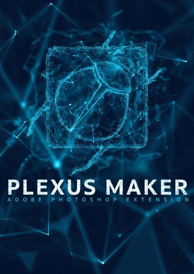 Plexus 3D logo effect rendered with Plexus Maker plugin for Adobe Photoshop