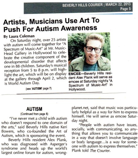 Alex Plank Wrongplanet.net and Keri Bowers Art of Autism Beverly Hills Courier