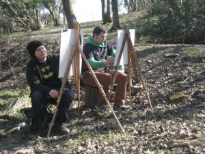 Kyle and Eddie painting