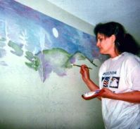 I get a job painting a few murals at a day center for disabled adults.