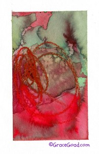 Tryptic, Red Circles on Red, Mixed Media on Paper  ©GraceGoad.com
