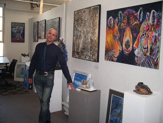 Ryan Smoluk in his art studio autism