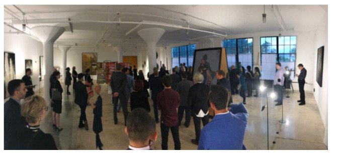 Panoramic of art exhibit