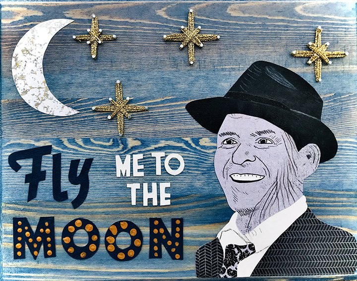 "Sonja Handysides ""Fly Me to the Moon"" Mixed Media 12 x 16"""