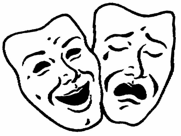 Clipart Of Black And White Comedy And Tragedy Theater