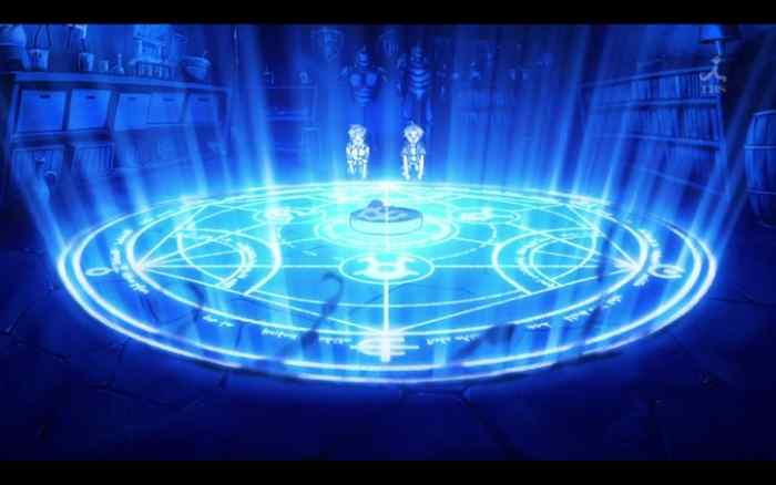 Edward and Alphonse Elric activating a transmutation circle