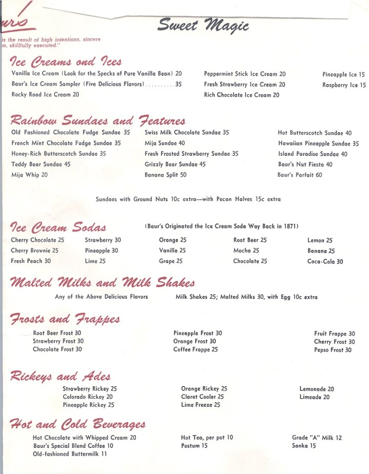 Let's Read An Old Menu! Featuring: Baur's, Denver, CO 1949