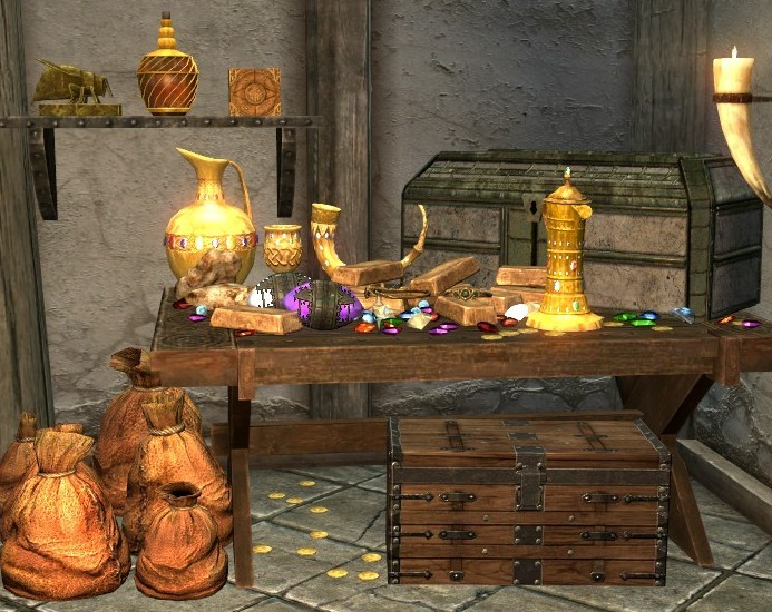Skyrim items on a table.
