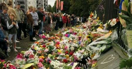 Crows gather to remember the victims of the Christchurch mosque attacks in March 2019.