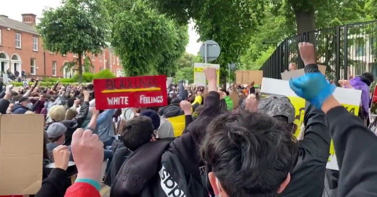 A photo of the Black Lives Matter and End Direct Provision protest held in Dublin on 6 June 2020.