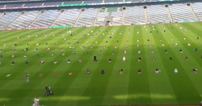 A photo of members of the Muslim community in Ireland celebrating Eid in Croke Park, Dublin.
