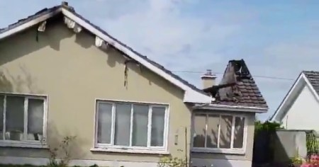 A photo of the house due to accommodate a Traveller family that was damaged in a suspected arson attack in Galway.