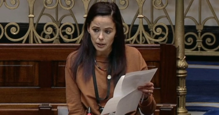 "A photo of Senator Eileen Flynn telling members of the Seanad that she is ""afraid"" of the far-right threat in Ireland."