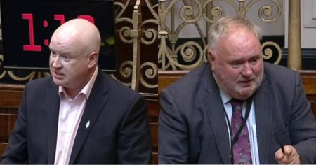 A photo of Senator Paul Gavan and Senator Eugene Murphy, both of whom have warned the Seanad of the far-right threat in Ireland.