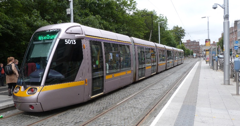 A photo of the Luas in Dublin, on which anti-mask protestors were videoed harassing passengers.