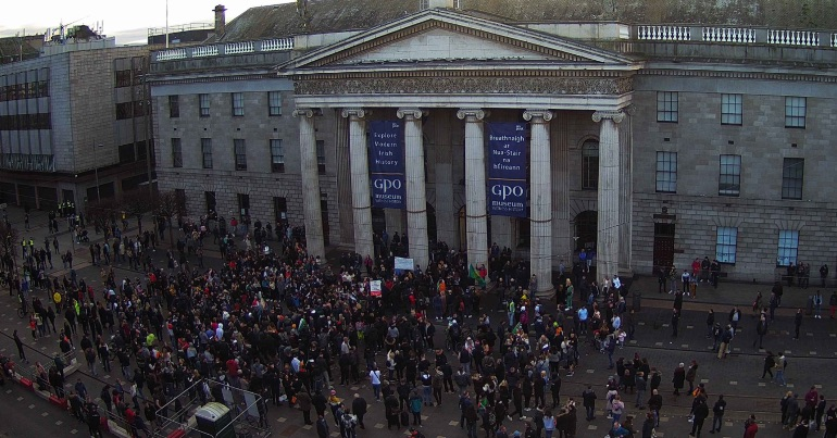 A photo of far-right activists and promoters of COVID-19 conspiracy theories gathered outside the GPO in Dublin in February 2021.