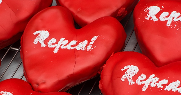 A photo of red heart-shaped cookies with the word Repeal on them, signifying the Repeal the 8th campaign to legalise abortion in Ireland.
